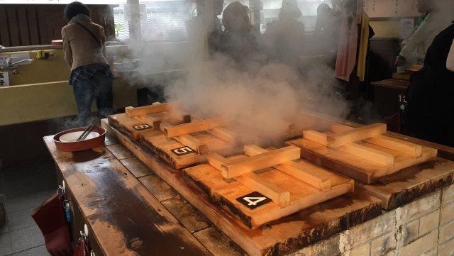 別府のゲストハウスに泊まった時に行った地獄蒸し料理