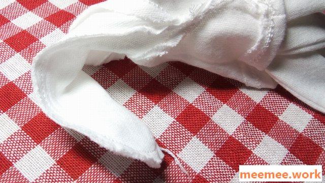 ダイソーの白手袋の指先の縫製