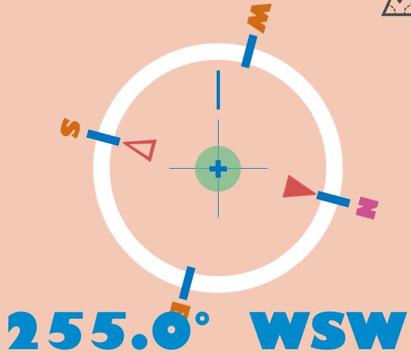 2020年の恵方である西南西の角度255度をiPhoneのコンパスアプリで表示している